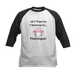 Christmas Flamingos Kids Baseball Jersey