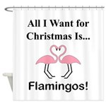 Christmas Flamingos Shower Curtain