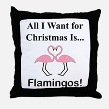 Christmas Flamingos Throw Pillow