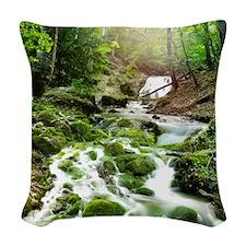 Woodland Stream Woven Throw Pillow