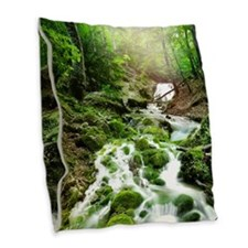 Woodland Stream Burlap Throw Pillow