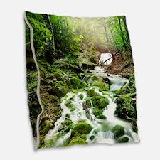 Woodland Stream Burlap Throw Pillow