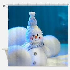 Christmas Snowman Shower Curtain