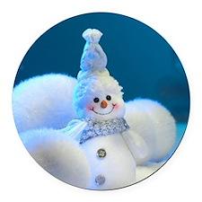 Christmas Snowman Round Car Magnet