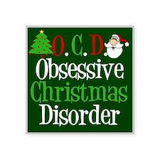 "Christmas Green Square Sticker 3"" x 3"""
