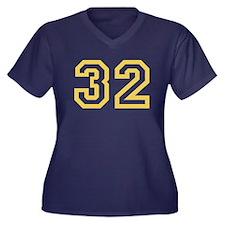GOLD #32 Women's Plus Size V-Neck Dark T-Shirt