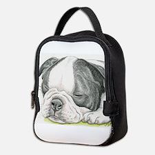 Sleepy Boston Terrier Puppy Neoprene Lunch Bag