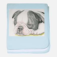 Sleepy Boston Terrier Puppy baby blanket