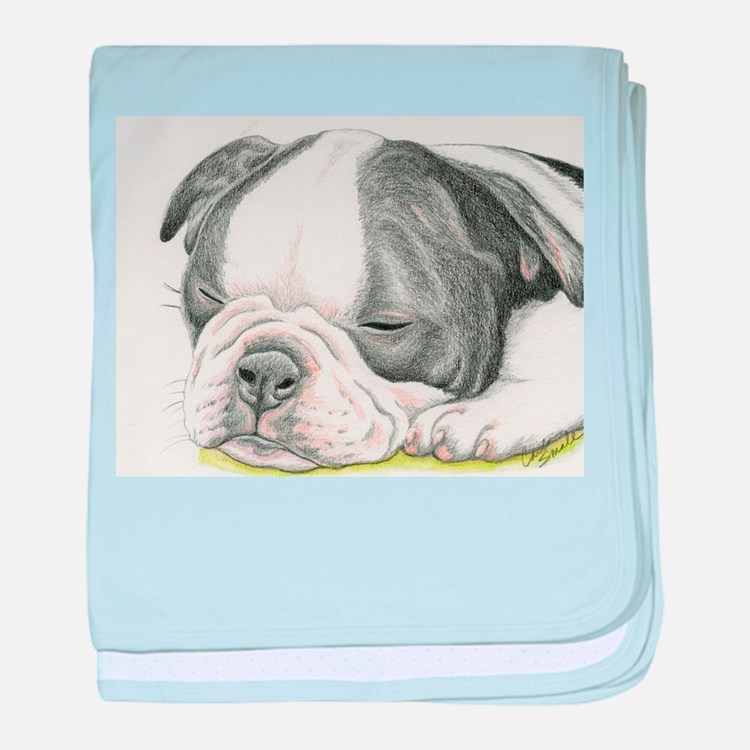 Sleepy Boston Terrier Puppy baby blanket