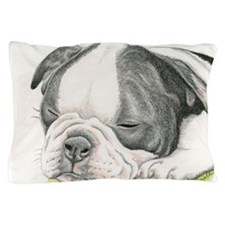 Sleepy Boston Terrier Puppy Pillow Case