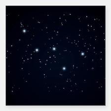"""Cassiopeia Constellation Square Car Magnet 3"""" x 3"""""""