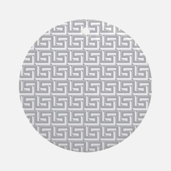 Elegant Gray Greek Key Ornament (Round)