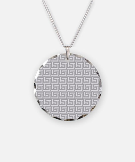 Elegant Gray Greek Key Necklace Circle Charm