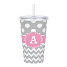 Gray Pink Chevron Dots Monogram Acrylic Double-wal