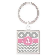 Gray Pink Chevron Dots Monogram Keychains