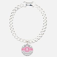 Gray Pink Chevron Dots Monogram Bracelet