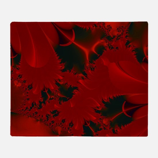 Red Fusions Fractal Art Throw Blanket