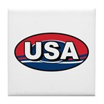 USA Oval Red White & Blue Tile Coaster