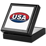 USA Oval Red White & Blue Keepsake Box
