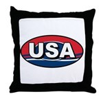 USA Oval Red White & Blue Throw Pillow