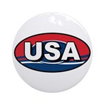 USA Oval Red White & Blue Ornament (Round)