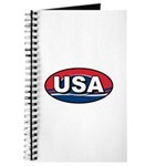 USA Oval Red White & Blue Journal