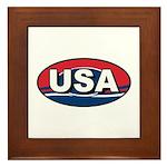 USA Oval Red White & Blue Framed Tile