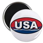 USA Oval Red White & Blue Magnet