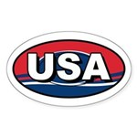 USA Oval Red White & Blue Oval Sticker