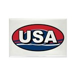 USA Oval Red White & Blue Rectangle Magnet (100 pa