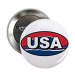 USA Oval Red White & Blue Button