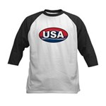 USA Oval Red White & Blue Kids Baseball Jersey