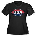 USA Oval Red White & Blue Women's Plus Size V-Neck