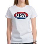 USA Oval Red White & Blue Women's T-Shirt