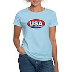 USA Oval Red White & Blue Women's Light T-Shirt