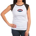 USA Oval Red White & Blue Women's Cap Sleeve T-Shi
