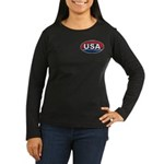 USA Oval Red White & Blue Women's Long Sleeve Dark