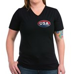 USA Oval Red White & Blue Women's V-Neck Dark T-Sh