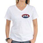 USA Oval Red White & Blue Women's V-Neck T-Shirt