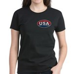 USA Oval Red White & Blue Women's Dark T-Shirt