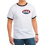 USA Oval Red White & Blue Ringer T