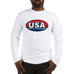 USA Oval Red White & Blue Long Sleeve T-Shirt