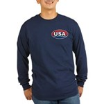 USA Oval Red White & Blue Long Sleeve Dark T-Shirt
