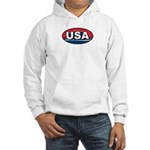 USA Oval Red White & Blue Hooded Sweatshirt