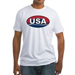 USA Oval Red White & Blue Fitted T-Shirt
