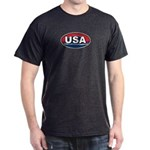 USA Oval Red White & Blue Dark T-Shirt