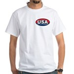 USA Oval Red White & Blue White T-Shirt