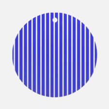 Royal Blue Stripes Beach Feeling Ornament (Round)
