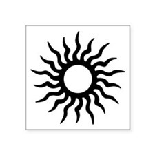 "Tribal Sun Symbol Square Sticker 3"" X 3"""