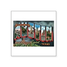 Vintage Austin Texas Greeting Card Sq. Sticker 3&q